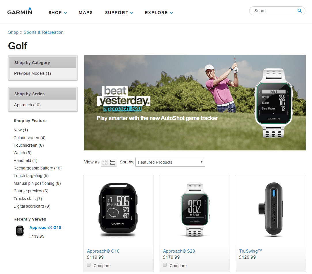 Garmin Website screenshot